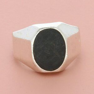 sterling silver mens vintage mexico onyx ring